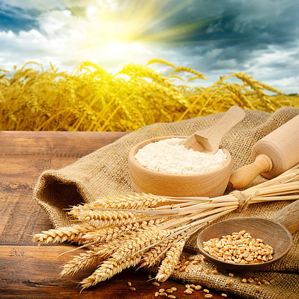 Organic ingredients for bread preparation stock photo