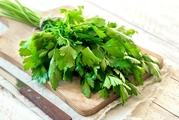 organic italian parsley - parsley stock photos and pictures