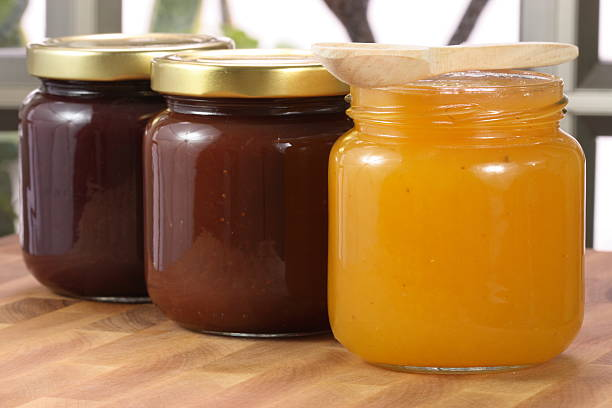 bio-marmelade - ananas marmelade stock-fotos und bilder