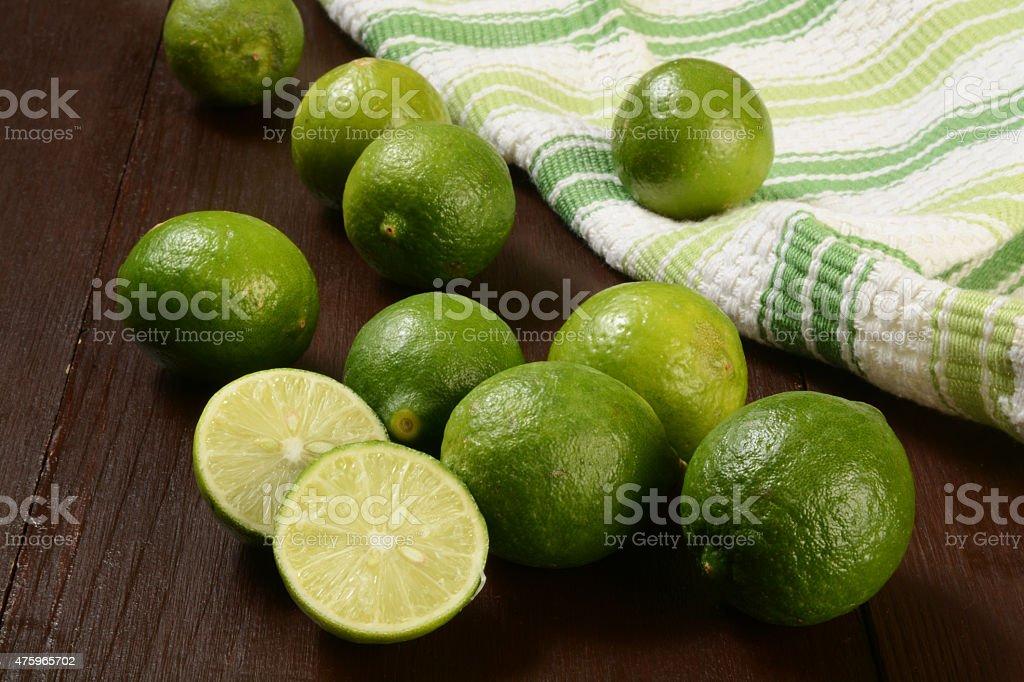 Organic key limes stock photo