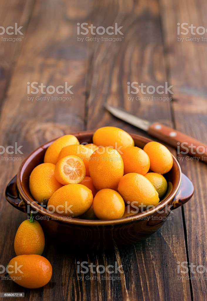Organic Kumquat in a Bowl stock photo