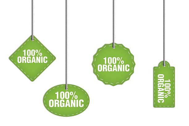 100% organico etichetta - icon set healthy foto e immagini stock