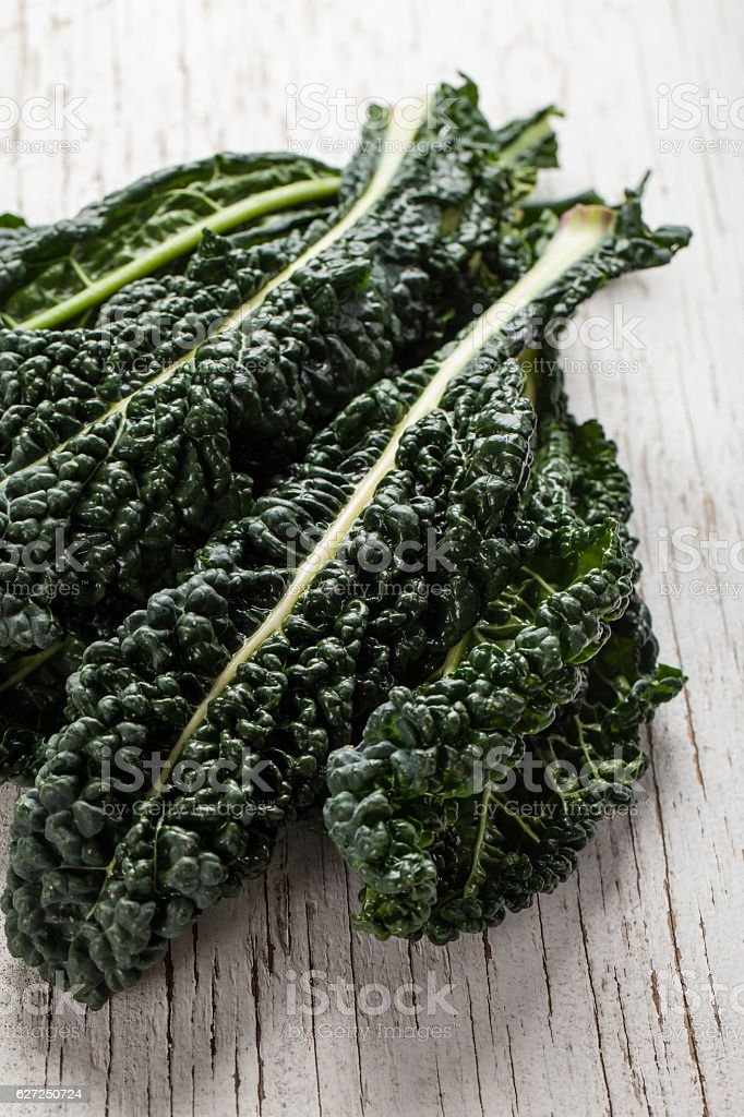 Organic Lacinato Kale above shot stock photo