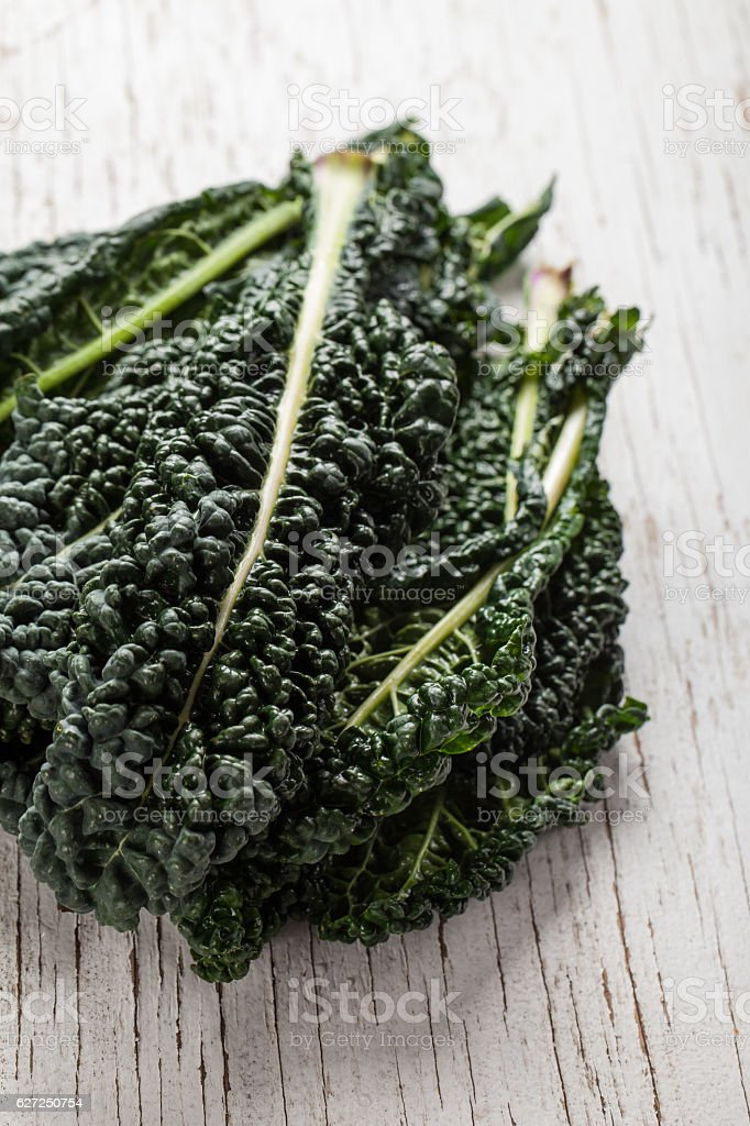 Organic Lacinato Kale vertical shot stock photo