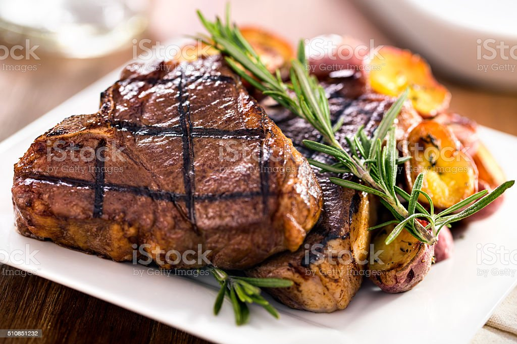 Organic Lamb Loin Chops stock photo