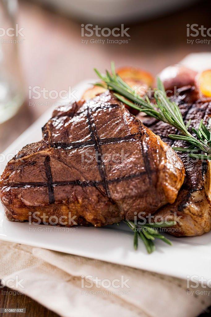 Organic Lamb Loin Chops stock photo