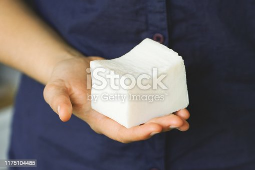 1168256931 istock photo Organic laundry soap in the woman's hand 1175104485