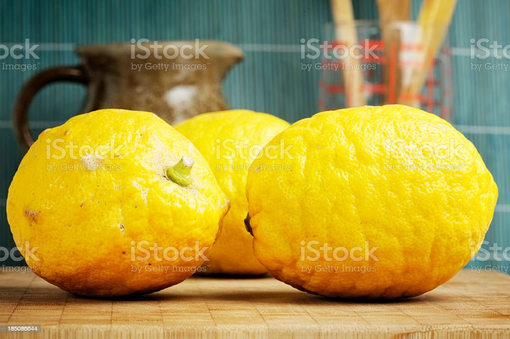 Organic Lemons in the Kitchen royalty-free stock photo
