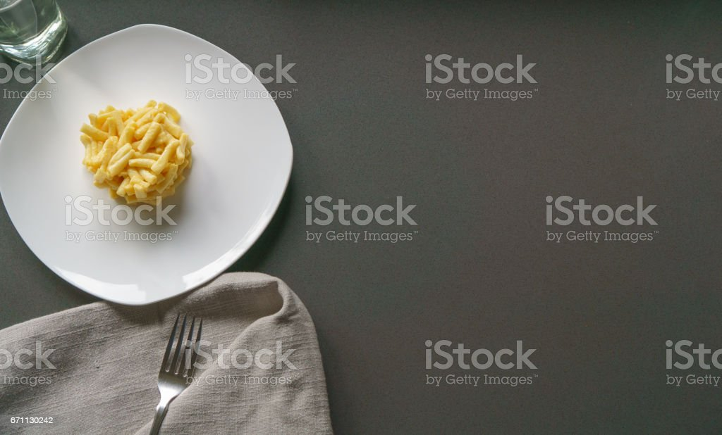 Organic Macaroni and Cheese on a White Plate stock photo