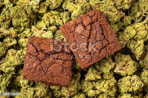 Organic marijuana Brownies close up full frame
