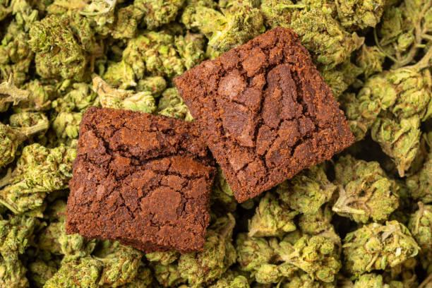 Organic Marijuana Brownies stock photo