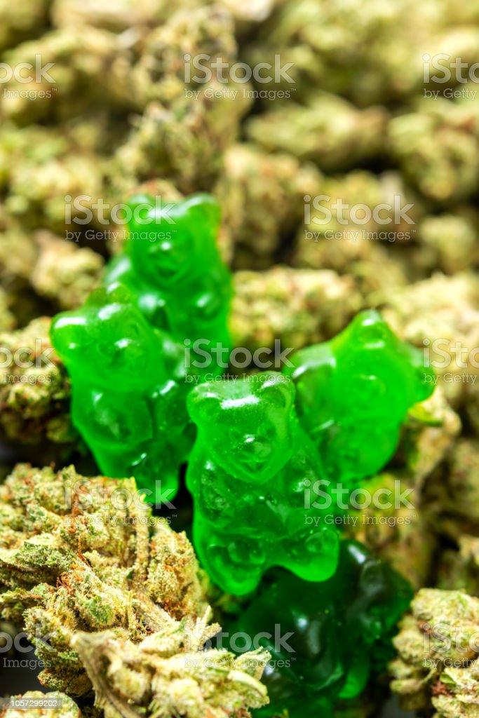 Organic Marijuana Green Gummy Bear Candies stock photo