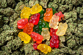 Stack of Organic Marijuana Gummy Bear Candies close up