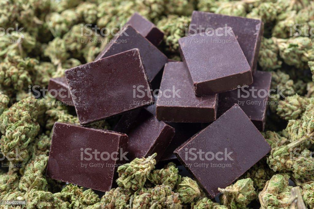 Organic Marijuana Pieces of Chocolate stock photo