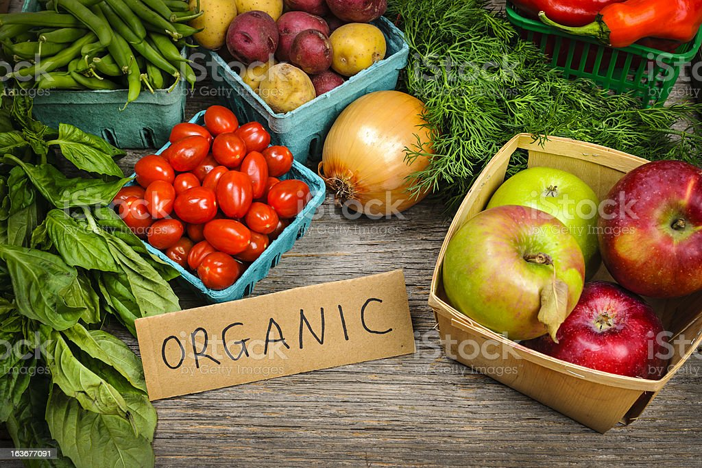 Organic market fruits and vegetables stock photo
