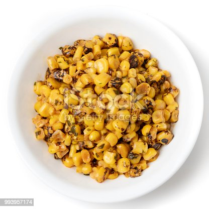 Organic Mexican Style Roasted Corn on white background from above