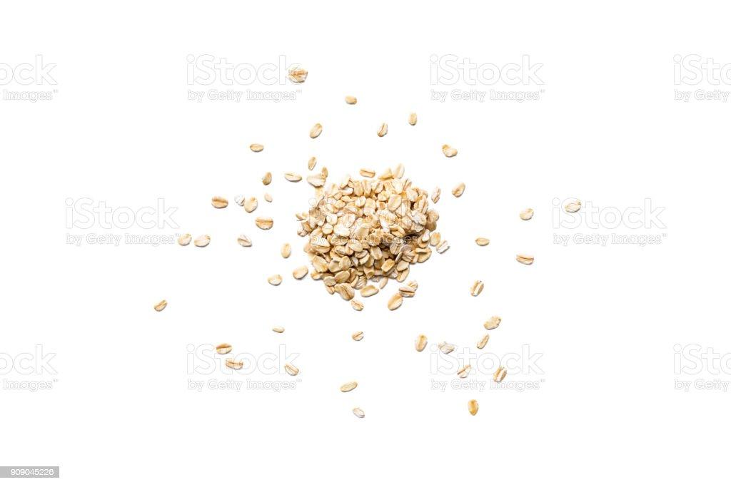 Flocons d'avoine biologique isolés sur fond blanc - Photo