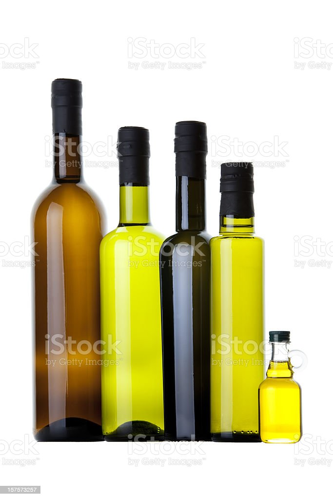Organic Olive Oil and Different  Bottles royalty-free stock photo