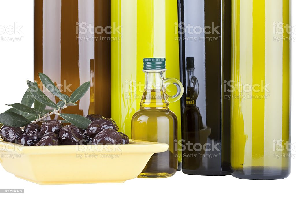 Organic Olive Oil and Different  Bottles ( Clipping Path ) royalty-free stock photo
