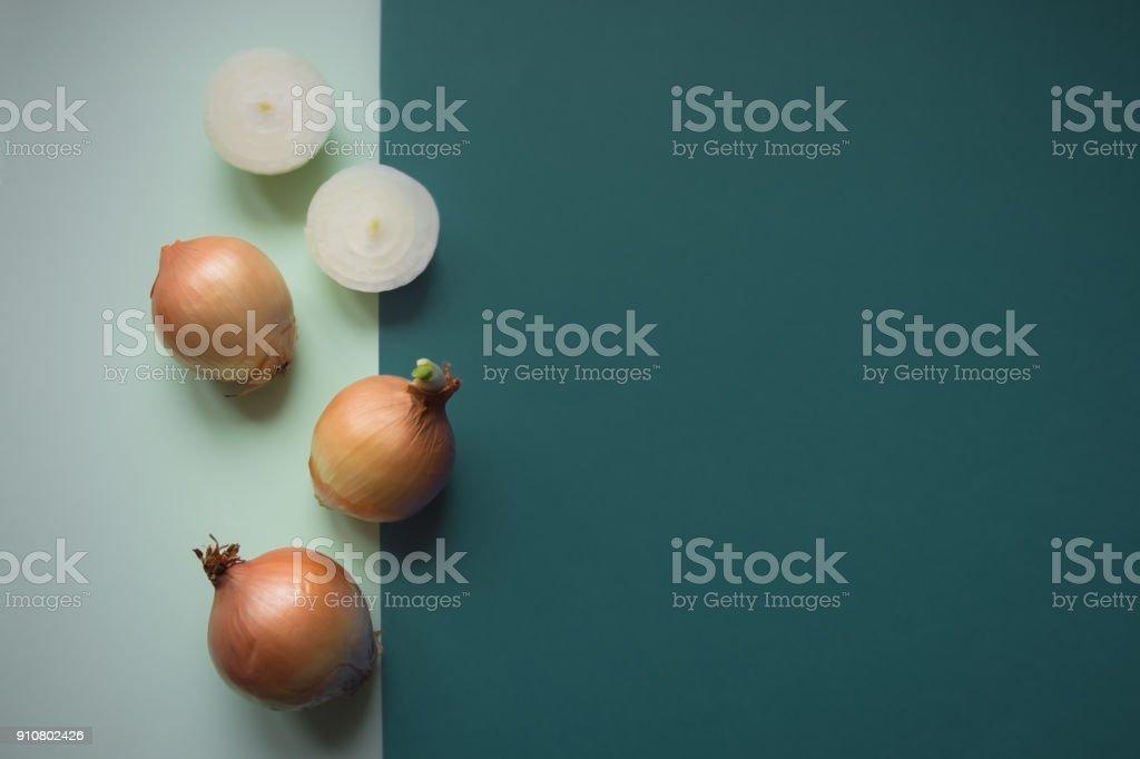 Organic onion on colorful background stock photo