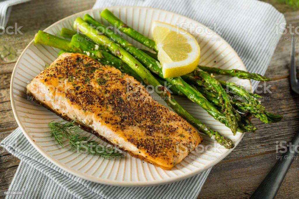 Organic Pan Seared Salmon stock photo