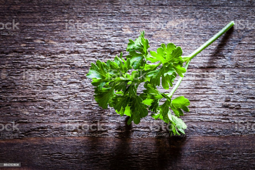 Organic parsley twig shot on rusticwodden table royalty-free stock photo