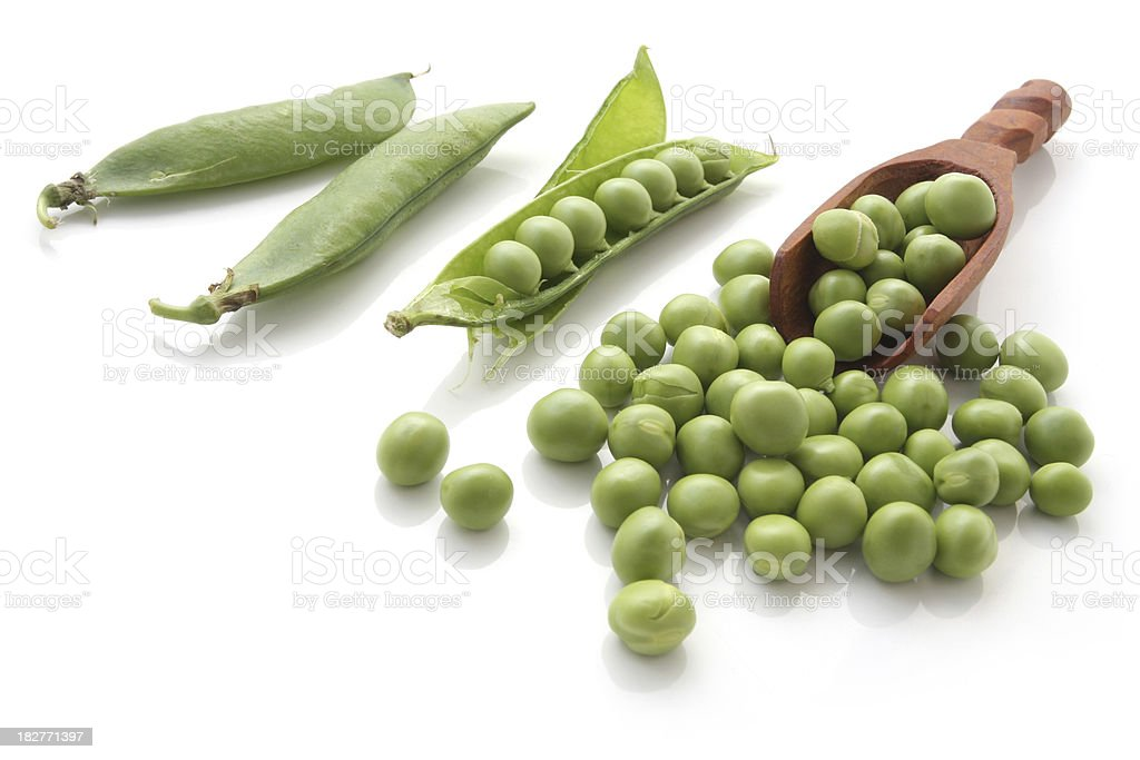 Organic Peas Isolated on White Background stock photo