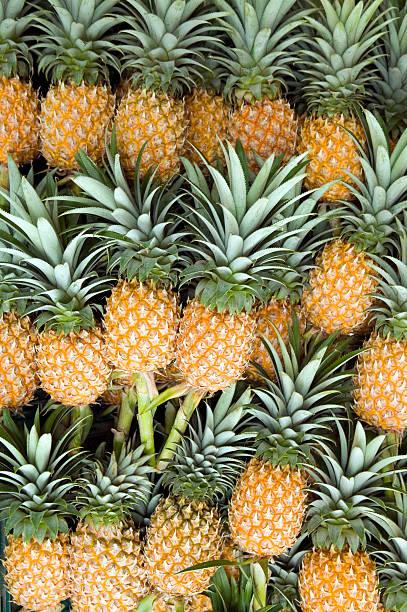 organic pineapple produce - meerdere lagen effect stockfoto's en -beelden