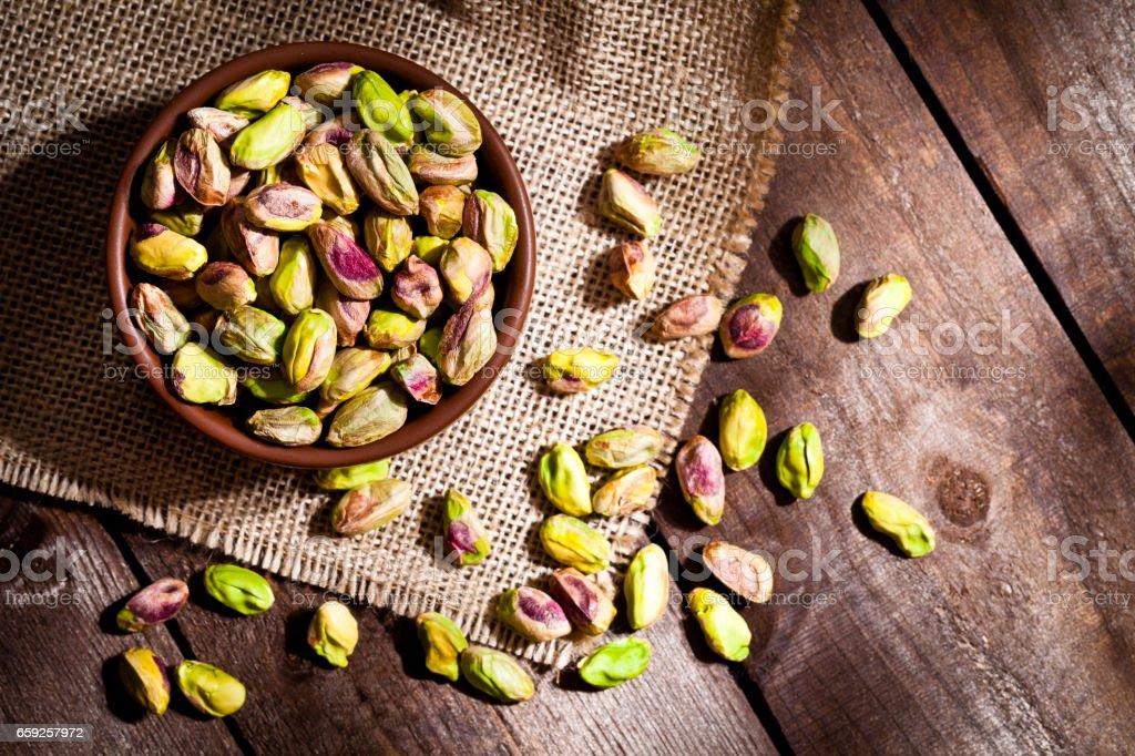 Organic pistachios still life stock photo