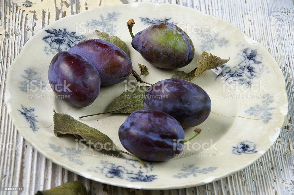 Organic plums royalty-free stock photo