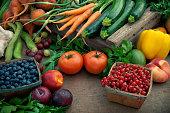 a vast array of bountiful organic produce.  Shallow dof