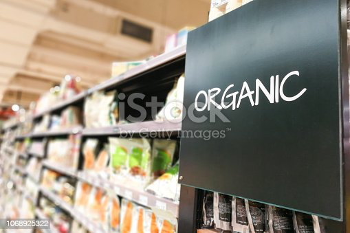 Organic products signage grocery category aisle at supermarket
