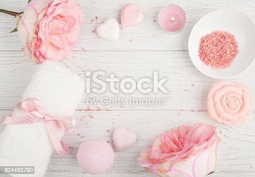 656780900istockphoto SPA organic products with roses, bath salt 924483760