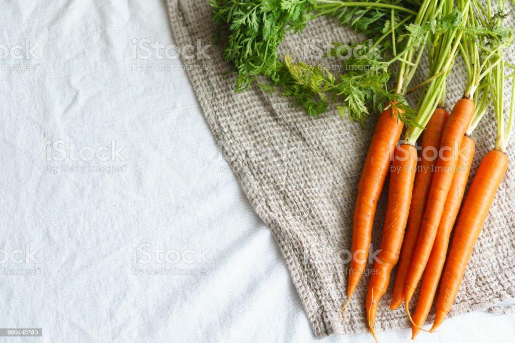 Organic Raw Carrots with Stalks stock photo