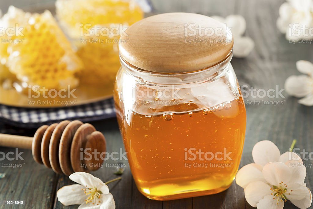 Organic Raw Golden Honey Comb stock photo