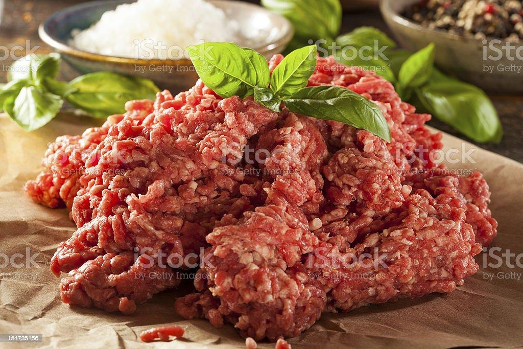 Orgánico materias primas pasto carne picada foto de stock libre de derechos