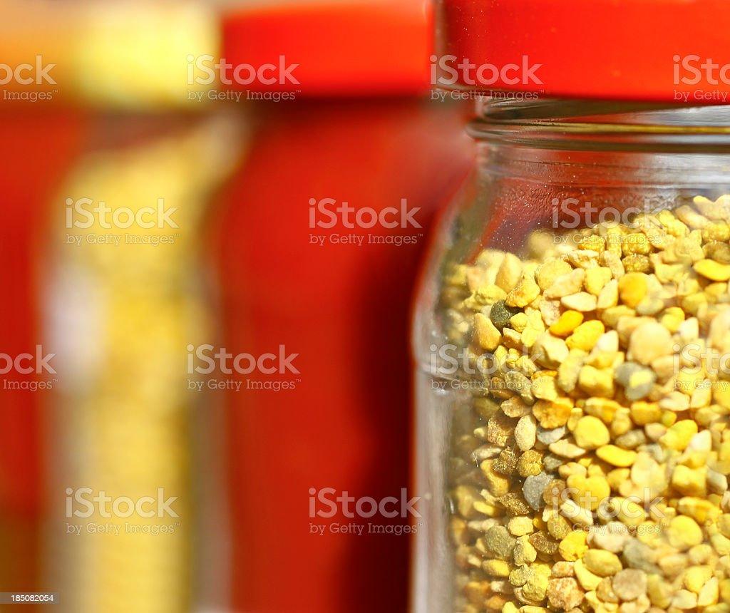 Organic raw material in jars royalty-free stock photo