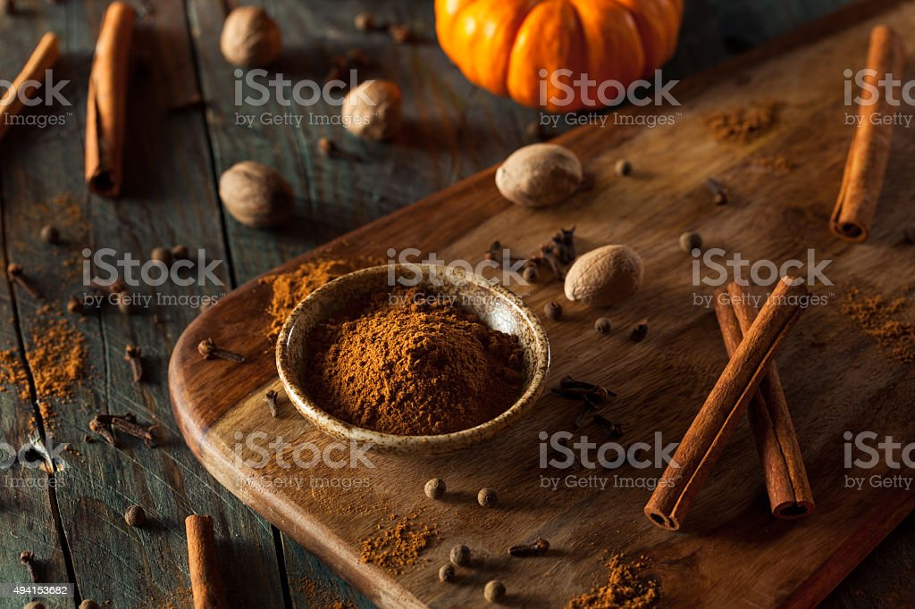 Organic Raw Pumpkin Spice stock photo