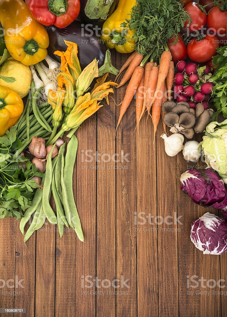 organic raw vegetables mix on the table royalty-free stock photo