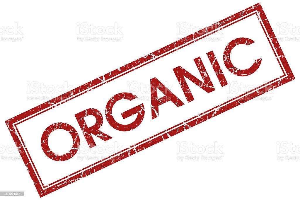 organic red square stamp stock photo