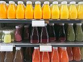 organic refreshments in a fridge display
