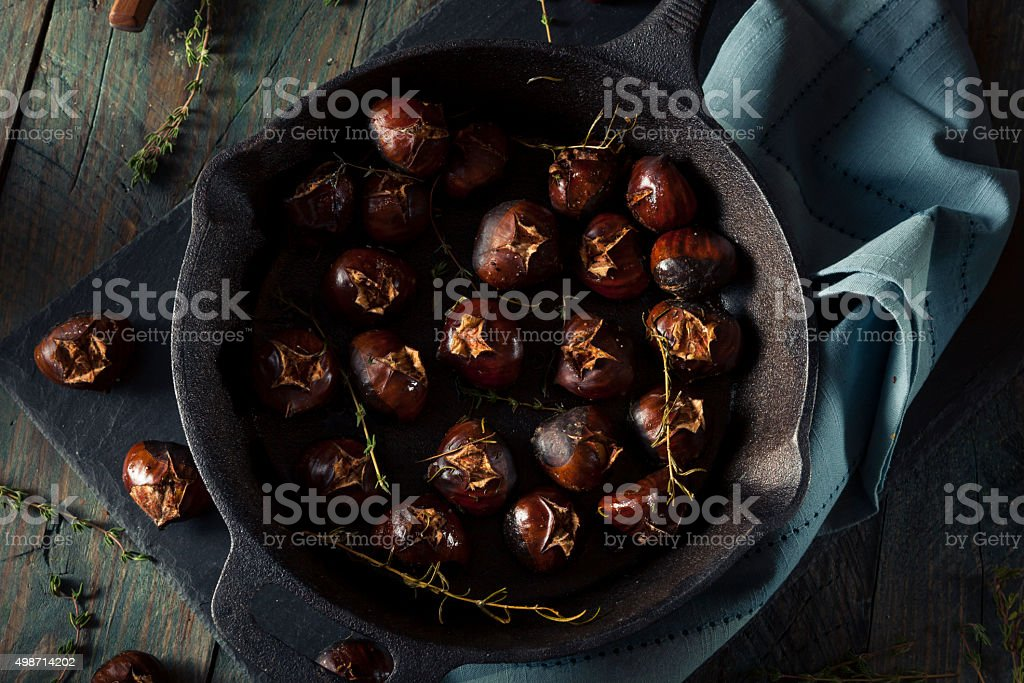 Organic Roasted Chestnuts with Herbs stock photo