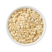 istock Organic Rolled Oats in a ceramic bowl 505494606