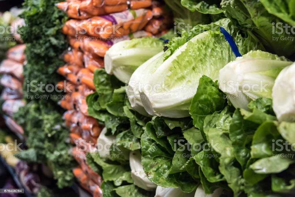 Organic Romaine lettuce for sale stock photo