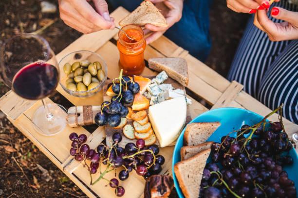 Organic Rural Lunch In Field Of Vineyard stock photo