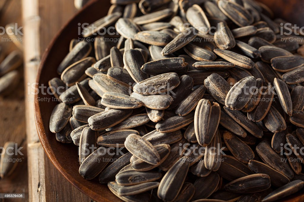 Organic Salted and Roasted Sunflower Seeds stock photo