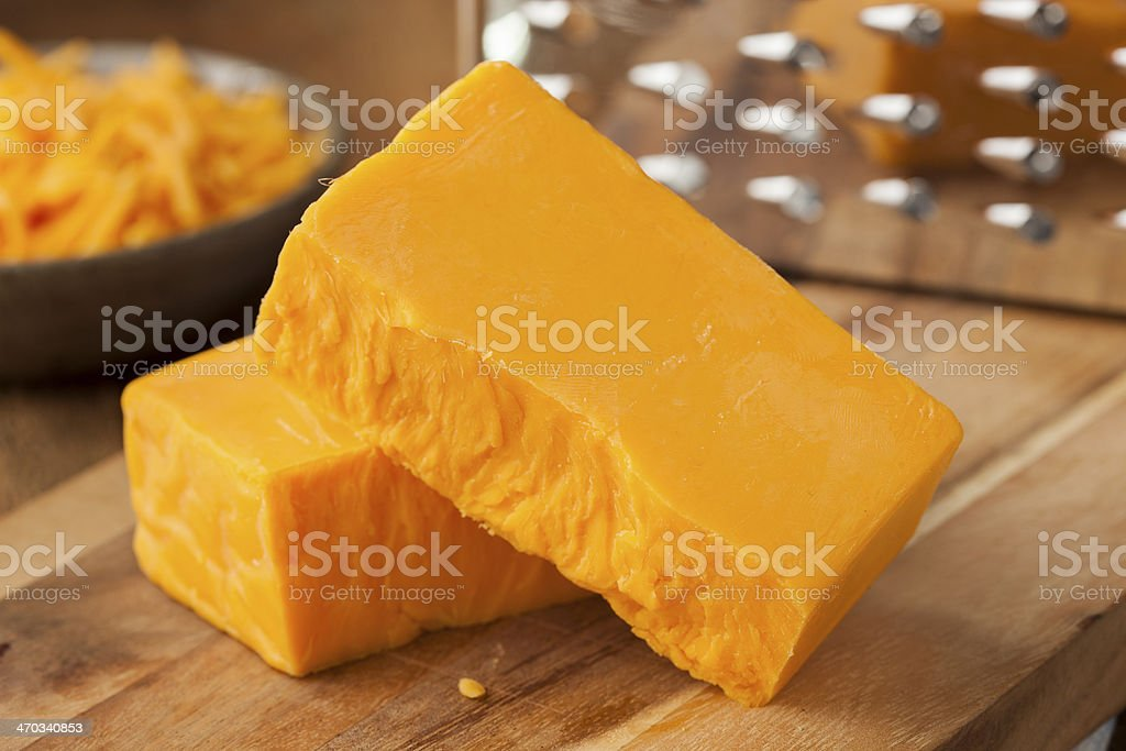 Organic Sharp Cheddar Cheese stock photo