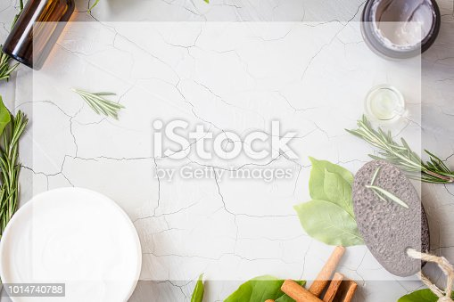 istock Organic skincare products flatlay with copy space 1014740788