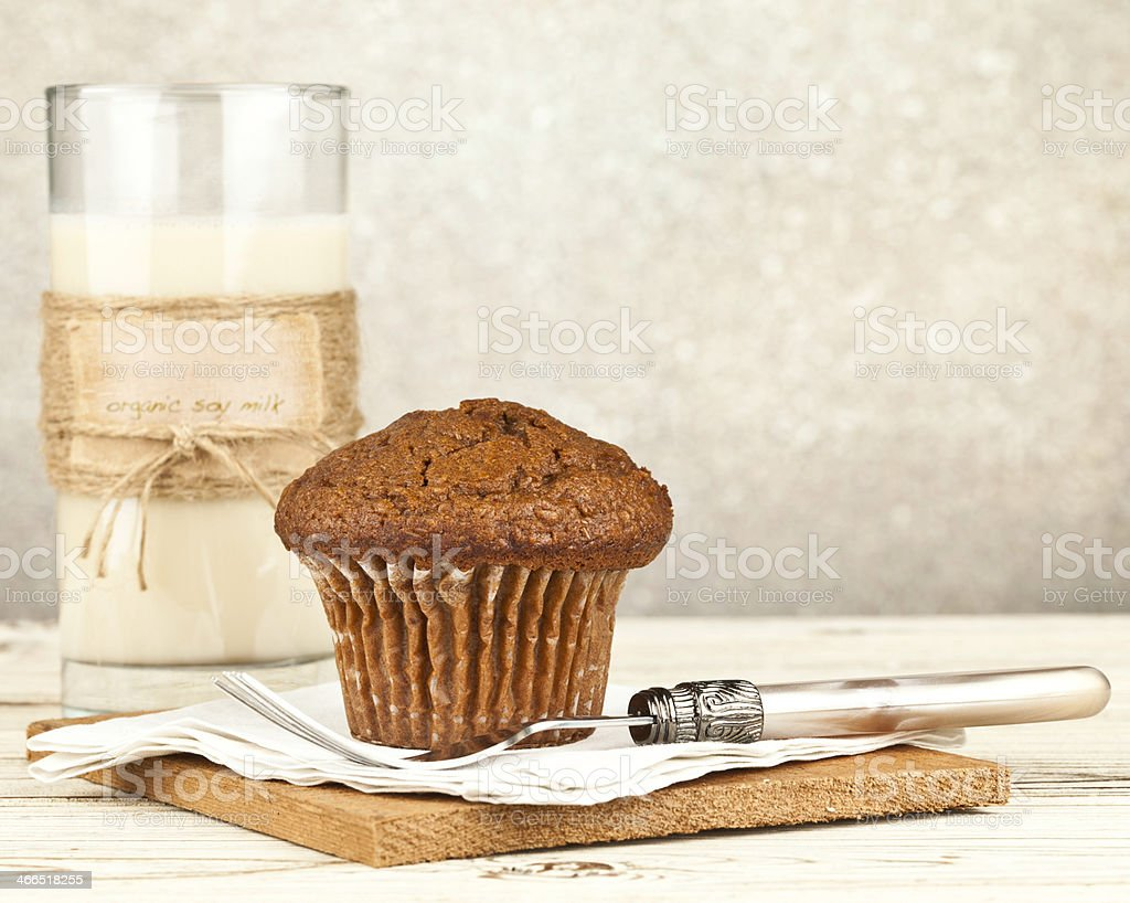 Organic Soy Milk with Bran Breakfast Muffin stock photo