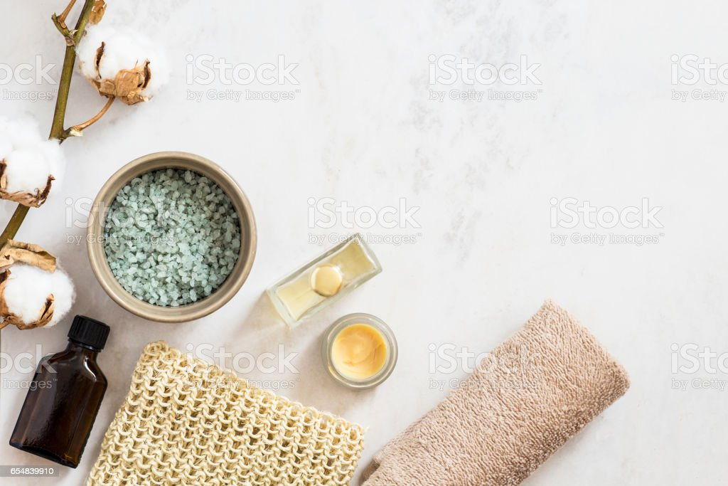 Organic spa cosmetic on marble background foto stock royalty-free